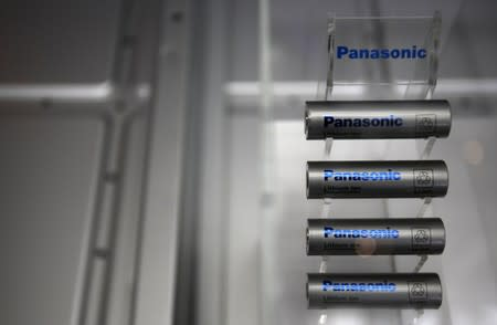 Panasonic Corp's lithium-ion batteries are displayed in Tokyo
