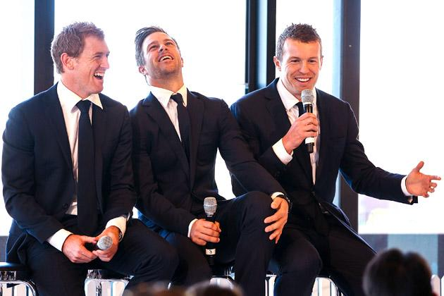 SYDNEY, AUSTRALIA - OCTOBER 15: George Bailey, Matthew Wade and Peter Siddle talk during the Cricket Australia season launch at Museum of Contemporary Art on October 15, 2012 in Sydney, Australia.  (Photo by Mark Nolan/Getty Images)