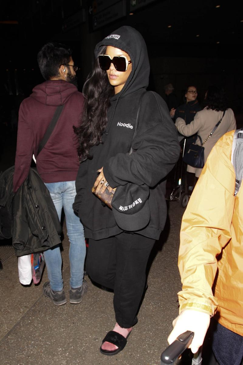 Rihanna has been spotted in this Vetements hoodie many times. (Photo: Getty Images)