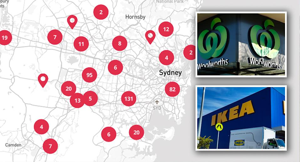 A Woolworths and IKEA are among the latest additions to NSW's exposure sites. Source: NSW Health/ Getty