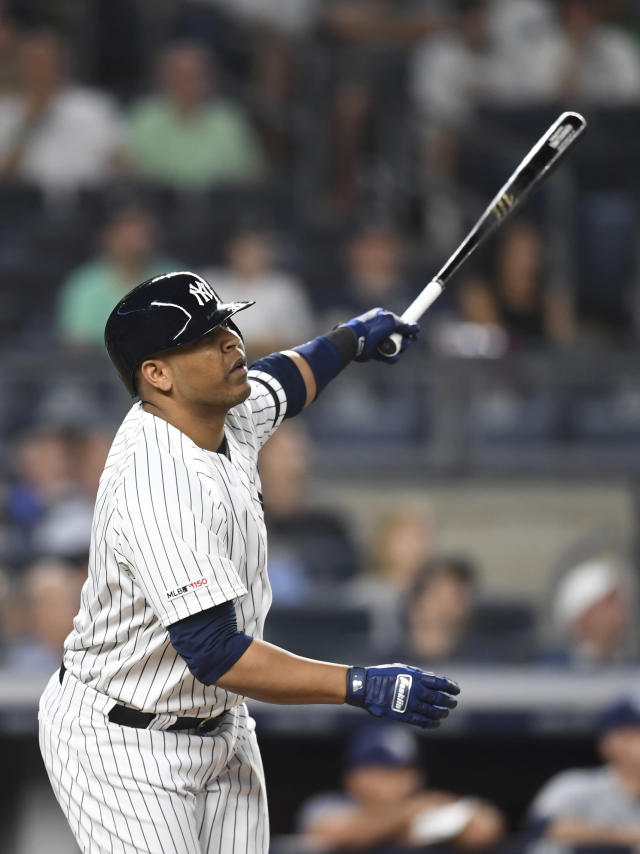 New York Yankees' Edwin Encarnacion watches his flyout to right field during the eighth inning of a baseball game against the Tampa Bay Rays, Monday, June 17, 2019, in New York. (AP Photo/Sarah Stier)