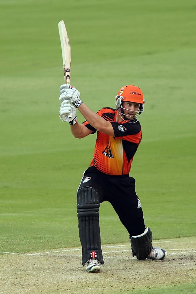 ADELAIDE, AUSTRALIA - JANUARY 10: Shaun Marsh of Perth bats during the Big Bash League match between the Adelaide Strikers and the Perth Scorchers at Adelaide Oval on January 10, 2013 in Adelaide, Australia.  (Photo by Morne de Klerk/Getty Images)