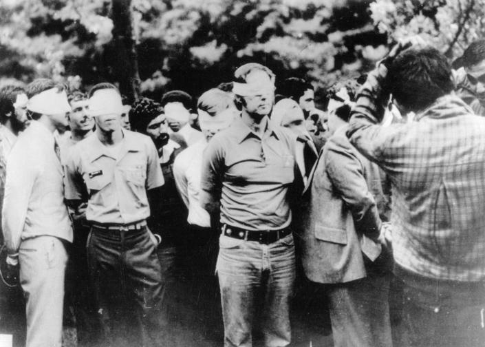 American hostages are paraded by their militant Iranian captors in Tehran in 1979. (Photo: Bettmann Archive via Getty Images)