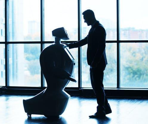 """<span class=""""caption"""">People are less embarrassed asking for items from a robot than a human.</span> <span class=""""attribution""""><span class=""""source"""">Gennady Danilkin/Shutterstock</span></span>"""