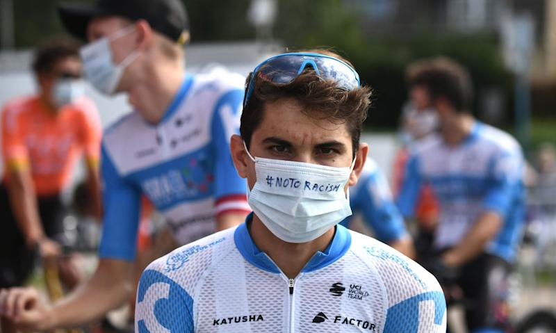Team Israel Academy rider Israels Guy Niv waits prior to the 21st and last stage of the 107th edition of the Tour de France cycling race 122 km between ManteslaJolie and Champs Elysees Paris on September 20 2020 Photo by Marco Bertorello POOL AFP Photo by MARCO BERTORELLOPOOLAFP via Getty Images