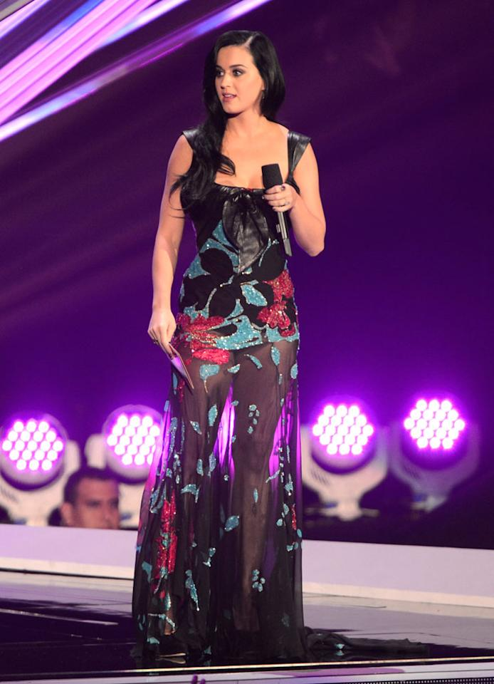 LOS ANGELES, CA - SEPTEMBER 06:  Katy Perry speaks onstage during the 2012 MTV Video Music Awards at Staples Center on September 6, 2012 in Los Angeles, California.  (Photo by Kevin Mazur/WireImage)