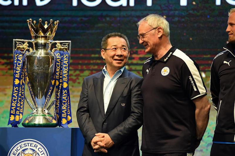 Vichai Shivaddhanaprabha was Leicester chairman when they won the Premier League title (AFP/Getty Images)