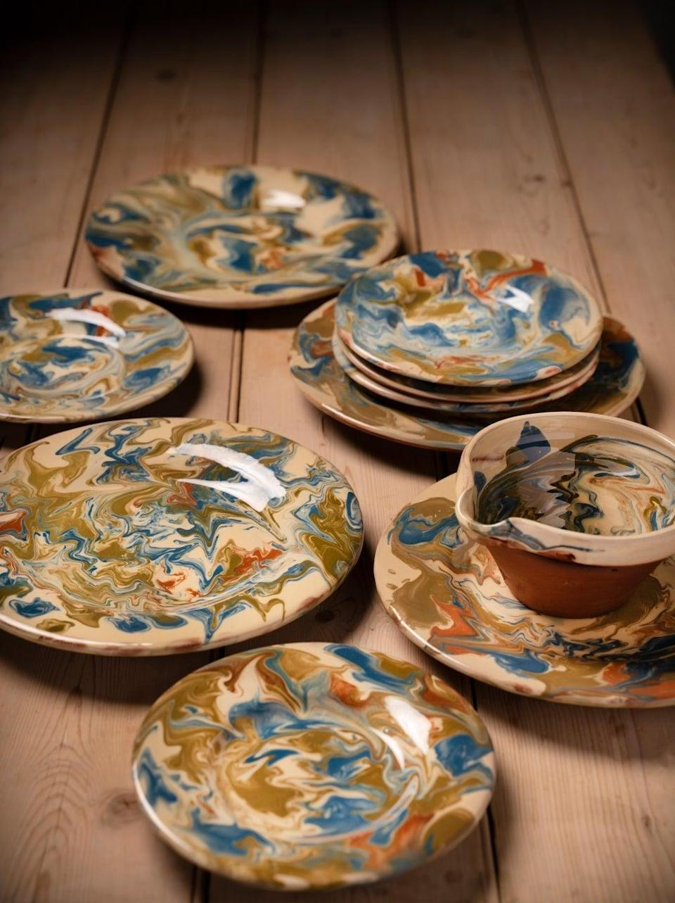 """<br><br><strong>REfound</strong> Handmade Marbled Pottery, $, available at <a href=""""https://www.re-foundobjects.com/product/view/handmade-marbled-pottery?cat=53"""" rel=""""nofollow noopener"""" target=""""_blank"""" data-ylk=""""slk:REfound"""" class=""""link rapid-noclick-resp"""">REfound</a>"""