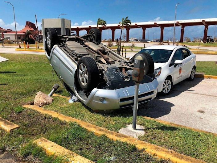 An overturned car at the Northern Mariana Islands' airport (AP)