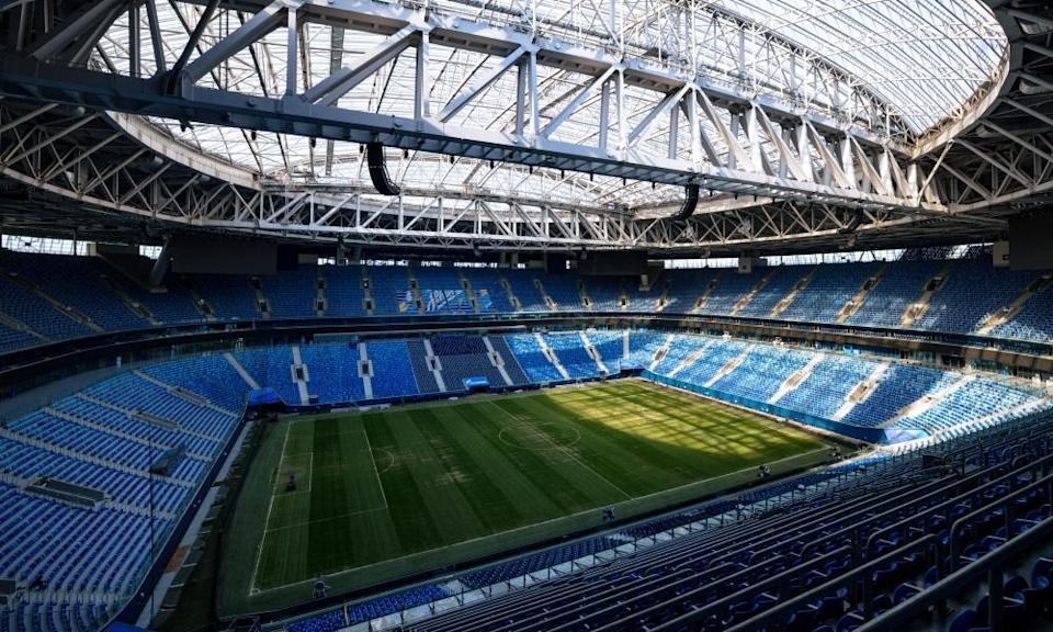A view of the pitch in the St Petersburg Stadium.