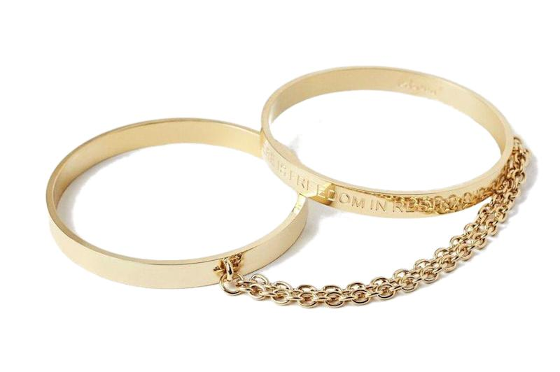 "When unstacked, <strong><a href=""https://fave.co/33RbV8m"" target=""_blank"" rel=""noopener noreferrer"">these&nbsp;bangles</a></strong>&nbsp;convert into functional wrist restraints&nbsp;so any night can take a ~sexy~ turn."