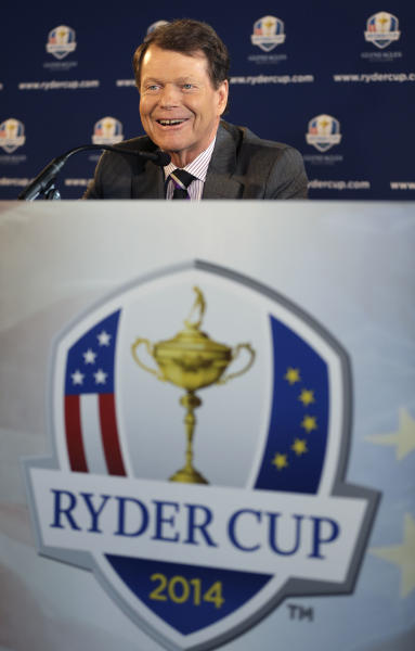 Tom Watson speaks during a news conference in New York, Thursday, Dec. 13, 2012. The Americans are bringing back Watson as their Ryder Cup captain with hopes of ending two decades of losing in Europe. (AP Photo/Seth Wenig)