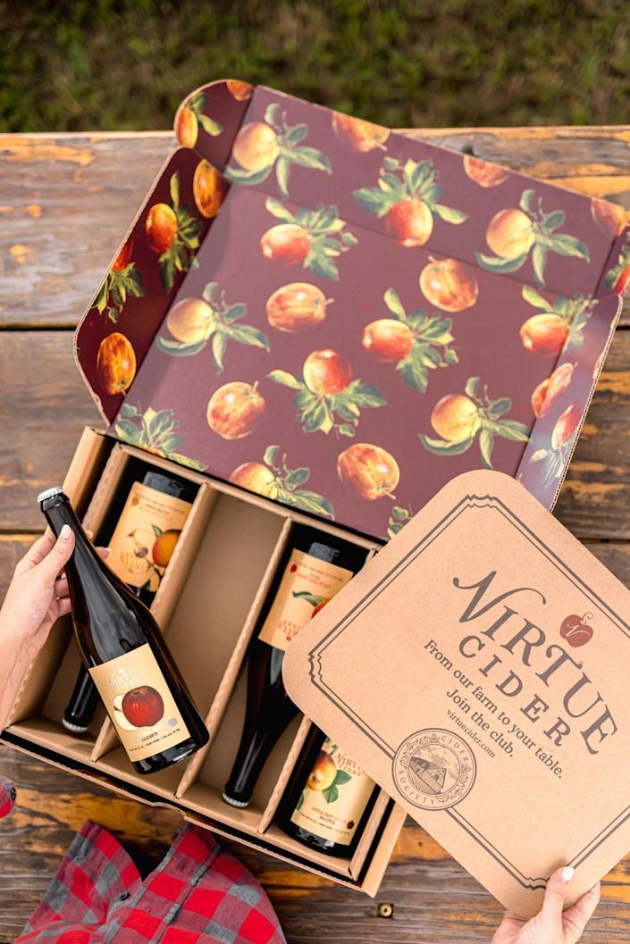 """<p>virtuecider.com</p><p><a href=""""https://virtuecider.com/pages/cider-society"""" rel=""""nofollow noopener"""" target=""""_blank"""" data-ylk=""""slk:Shop Now"""" class=""""link rapid-noclick-resp"""">Shop Now</a></p><p><strong>$90 for four bottles, quarterly</strong></p><p>Cider lovers know that this tipple isn't just for fall. This quarterly box offers a taste of this Michigan cider producers tastiest bottles with four small-batch artisanal ciders. As an added bonus, subscribers will also get special treatment, like 10% off purchases, free shipping on online orders, gift cards in every shipment, and early access to new releases and farm events.</p>"""