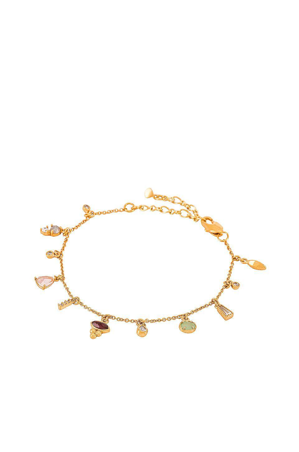"""<p><strong>TAI Jewelry</strong></p><p>revolve.com</p><p><strong>$95.00</strong></p><p><a href=""""https://go.redirectingat.com?id=74968X1596630&url=https%3A%2F%2Fwww.revolve.com%2Fdp%2FTLRR-WL29%2F&sref=https%3A%2F%2Fwww.cosmopolitan.com%2Fstyle-beauty%2Ffashion%2Fg33758380%2Fjewelry-trends-winter-2020-2021%2F"""" rel=""""nofollow noopener"""" target=""""_blank"""" data-ylk=""""slk:Shop Now"""" class=""""link rapid-noclick-resp"""">Shop Now</a></p><p>This dainty bracelet has the prettiest array of crystals on it. </p>"""