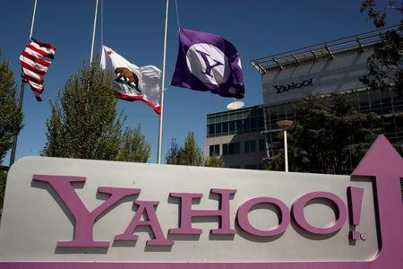The Yahoo logo is shown at the company's headquarters in Sunnyvale, California, U.S. on April 16, 2013.   REUTERS/Robert Galbraith/File Photo