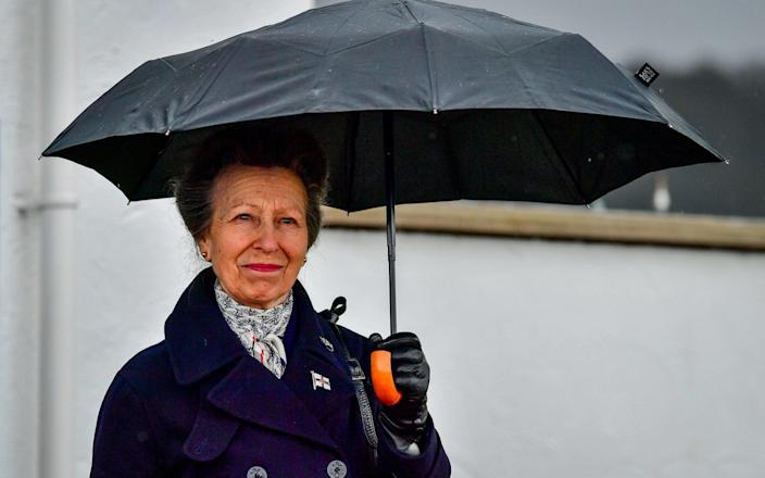 The Princess Royal at the Royal Victoria Yacht Club, on the Isle of Wight. Picture date: Wednesday April 14, 2021. - Ben Birchall