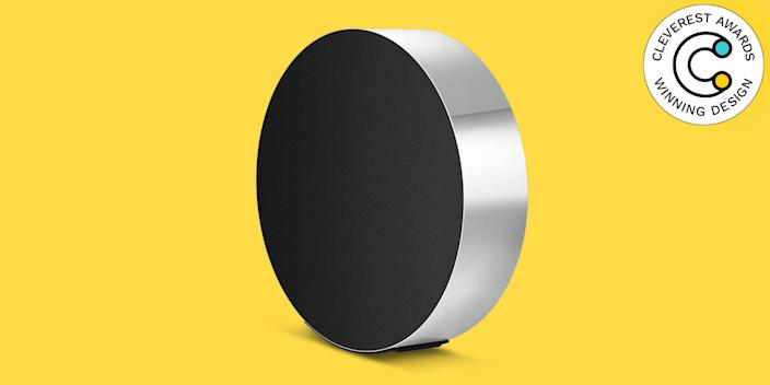 Beosound Edge Speaker by Bang & Olufsen This speaker is pretty much magical. Imagined by lighting designer Michael Anastassiades, the Beosound Edge has a touch-sensitive control interface and automatically changes acoustic performance to fine-tune the sound and clarity at all volume levels. Mount it on the wall or keep it on the floor—the speaker rolls back into position as you pull or push the aluminum ring to adjust the volume. Get a 360-degree listening experience with this all-in-one wireless speaker and minimalist design object. $3,500, store.moma.org