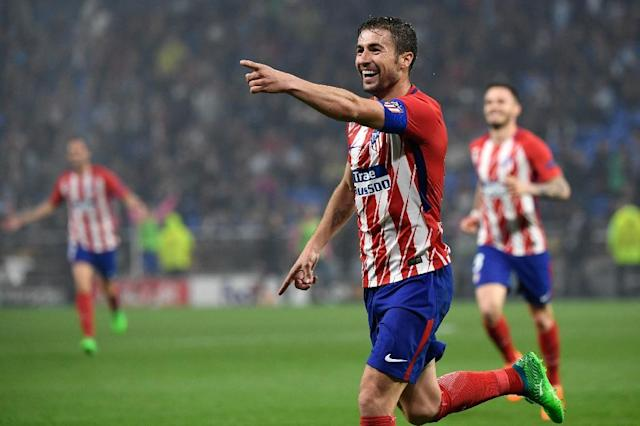 Veteran midfielder Gabi got Atletico's third goal against Marseille in Lyon (AFP Photo/Philippe DESMAZES)
