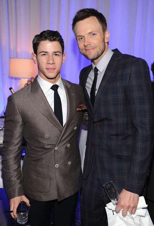 Nick Jonas and Joel Mchale attend E!'s 2012 Upfront event at Gotham Hall on April 30, 2012 in New York City.