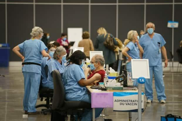 The mass vaccination clinic in the Palais des congrès is the main location for the centre-sud region of the city of Montreal.