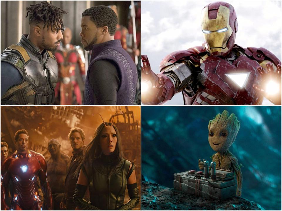 Clockwise from top right: stills from Black Panther, Avengers, Guardians of the Galaxy Vol 2, and Avengers: Infinity War (Disney)