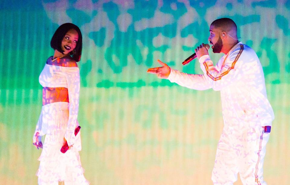 """<p>Drake and Rihanna have been on-and-off for years, but in the early hours of 2017, he decided to sprinkle some shade. While at a New Year's Eve party (with then-rumored flame J.Lo), Drake made the DJ change the song when 'Work' came on. '<a href=""""https://www.thedailybeast.com/drake-disses-rihanna-on-new-years-eve-that-was-an-old-vibe"""" rel=""""nofollow noopener"""" target=""""_blank"""" data-ylk=""""slk:That was an old vibe"""" class=""""link rapid-noclick-resp"""">That was an old vibe</a>,' Drake reportedly said of the Bad Gal. </p>"""