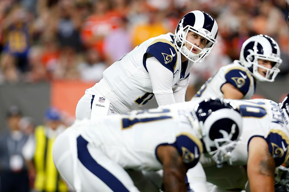 CLEVELAND, OH - SEPTEMBER 22:  Jared Goff #16 of the Los Angeles Rams calls a play at the line of scrimmage during the game against the Cleveland Browns at FirstEnergy Stadium on September 22, 2019 in Cleveland, Ohio. Los Angeles defeated Cleveland 20-13. (Photo by Kirk Irwin/Getty Images)