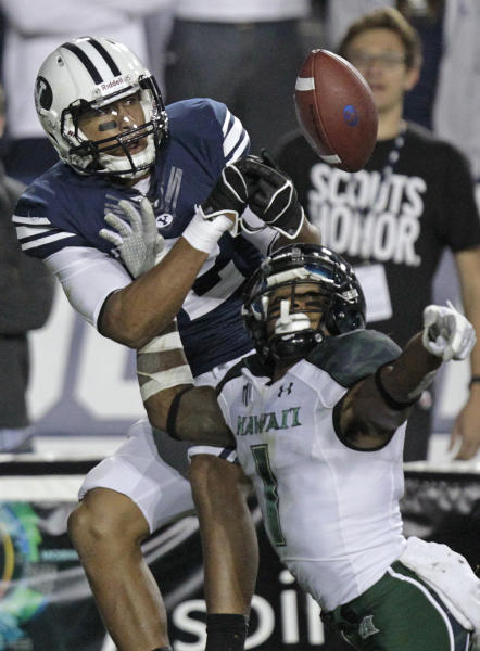 Hawaii cornerback Mike Edwards (1) defends against Brigham Young wide receiver Cody Hoffman (2) during the third quarter of an NCAA college football game Friday, Sept. 28, 2012, in Provo, Utah. BYU defeated Hawaii 47-0. (AP Photo/Rick Bowmer)