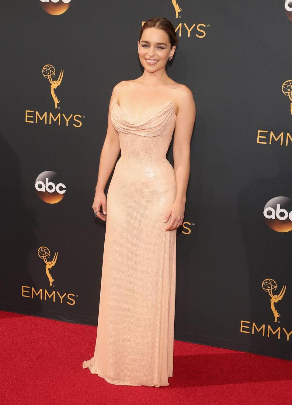 <p>The <em>Game of Thrones </em>star had our eyes playing tricks on us in this flesh-toned Atelier Versace gown. </p>