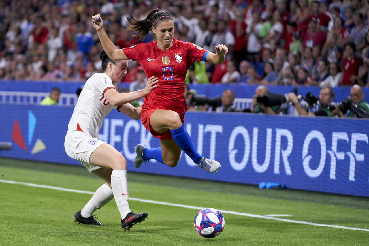 Fran Kirby of England battle for the ball with Alex Morgan of USA during the 2019 FIFA Women's World Cup France Semi Final match between England and USA at Stade de Lyon on July 02, 2019 in Lyon, France. (Photo by Quality Sport Images/Getty Images)