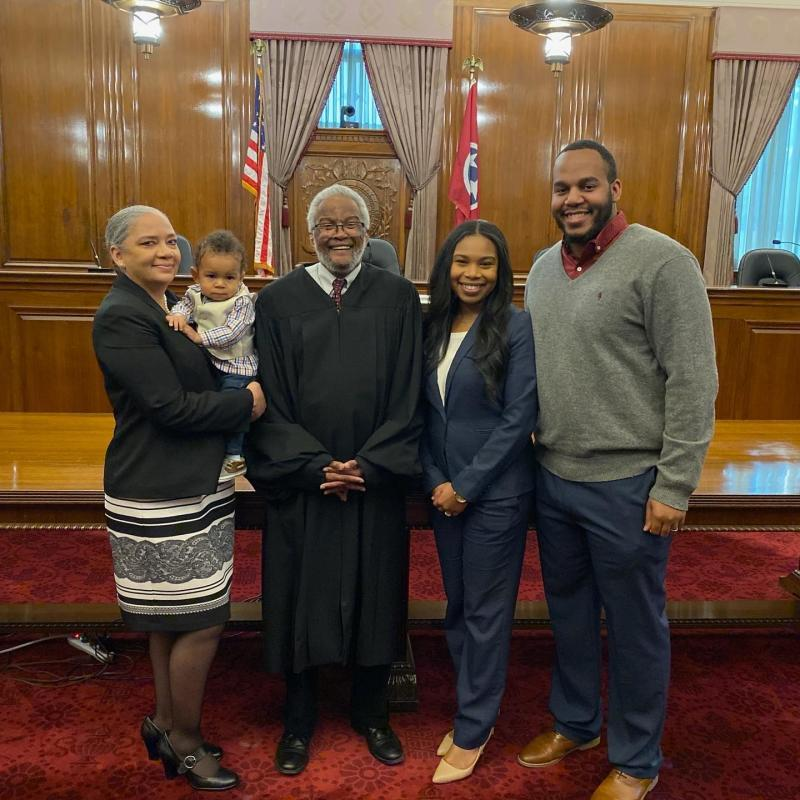 Ana, Beckham, Judge Dinkins, Juliana and Javon Lamar are all smiles after Juliana is sworn into the state bar. (Photo courtesy of Juliana Lamar)