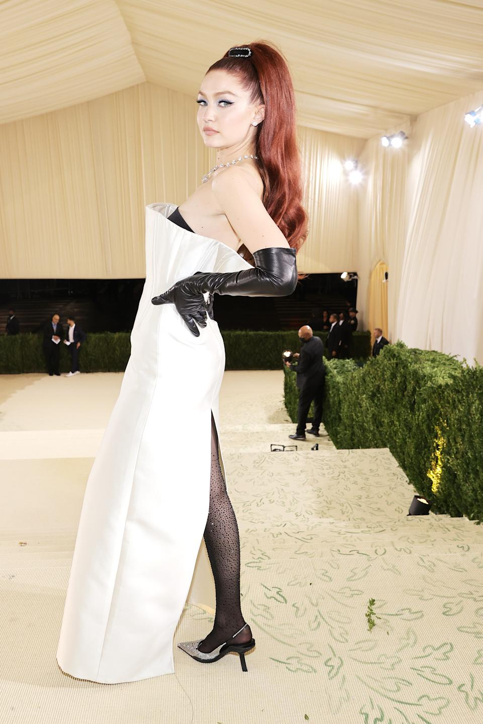 Some have likened Gigi Hadid's Met Gala look to Jessica Rabbit. (Getty Images)