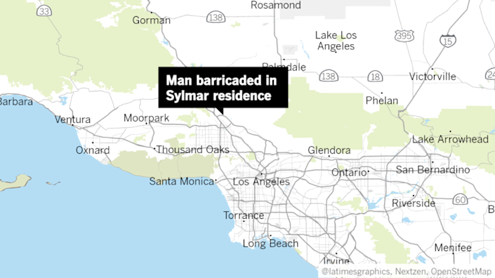 Location of male suspect in Sylmar.