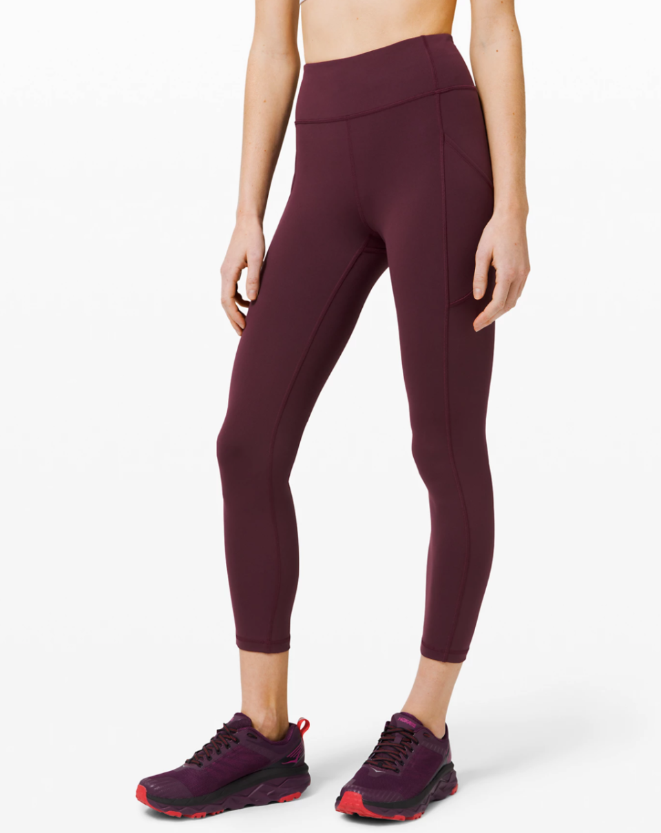 The Invigorate High-Rise Tight by Lululemon in Cassis. Available in eight colours.
