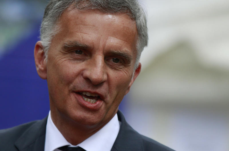 Swiss President and Foreign Minister Didier Burkhalter speaks to media after a meeting in the village of Ergneti, Georgia, on June 3, 2014