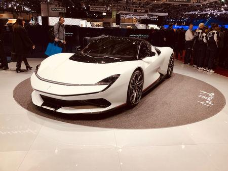"Automobili Pininfarina's ""Battista"" electric hypercar is pictured at the Geneva Motor Show, in Geneva, Switzerland March 5, 2019. Picture taken March 5, 2019. REUTERS/Edward Taylor"