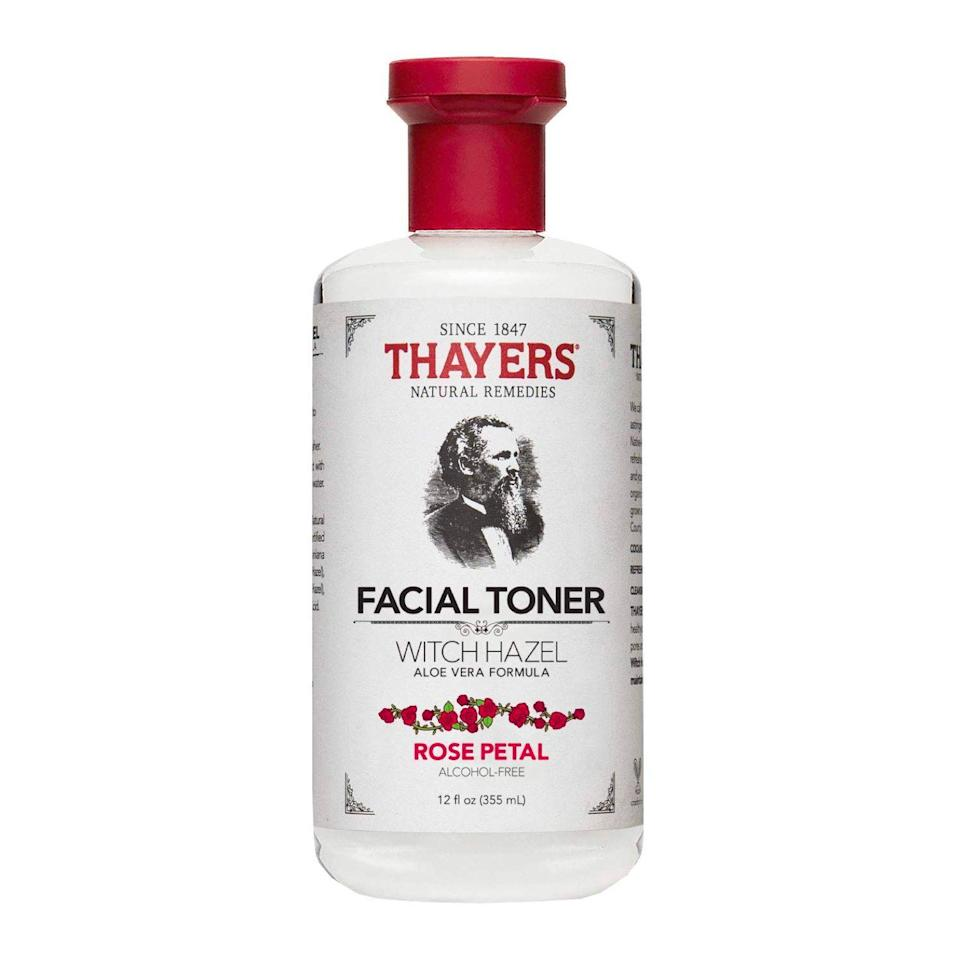 """<p><strong>THAYERS</strong></p><p>amazon.com</p><p><strong>$8.79</strong></p><p><a href=""""https://www.amazon.com/dp/B007HD570Q?tag=syn-yahoo-20&ascsubtag=%5Bartid%7C2089.g.3486%5Bsrc%7Cyahoo-us"""" rel=""""nofollow noopener"""" target=""""_blank"""" data-ylk=""""slk:Shop Now"""" class=""""link rapid-noclick-resp"""">Shop Now</a></p><p>Toss out your pricey toner and <a href=""""https://www.bestproducts.com/beauty/a31979553/thayers-witch-hazel-facial-toner-review/"""" rel=""""nofollow noopener"""" target=""""_blank"""" data-ylk=""""slk:invest in one that just works"""" class=""""link rapid-noclick-resp"""">invest in one that just <em>works</em></a>. Considered a """"miracle worker"""" by beauty enthusiasts, this witch hazel tones, moisturizes, reduces redness/inflammation, tightens pores, and controls acne — all for under $10. You honestly can't beat that, and nearly 6,000 5-star reviews agree.</p>"""