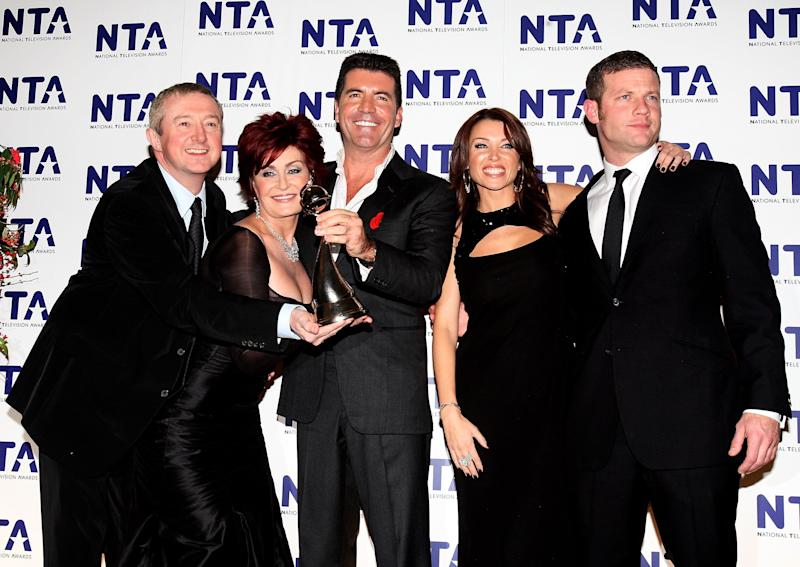 LONDON - OCTOBER 31: Dermot O'Leary, Sharon Osbourne, Simon Cowell, Dannii Minogue and Luis Walsh pose with the award for Most Popular Talent Show at the National Television Awards 2007 at the Royal Albert Hall on October 31, 2007 in London, England. (Photo by Dave Hogan/Getty Images)