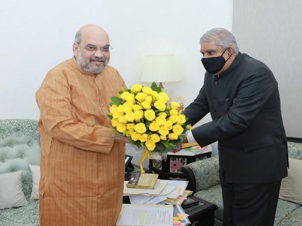 Visual from West Bengal Governor Jagdeep Dhankhar's meeting with Union Home Minister Amit Shah in October last year.