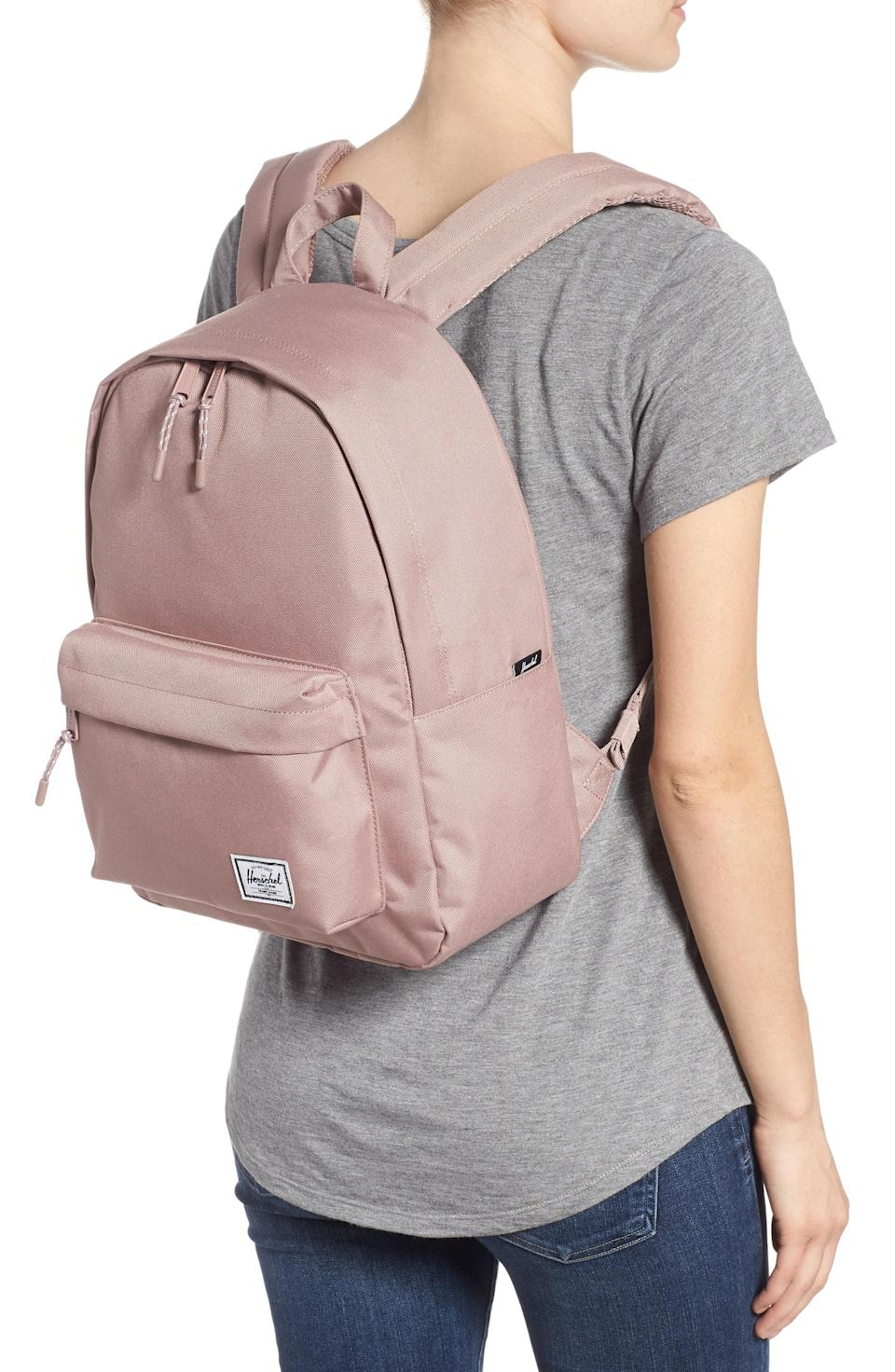 """<p><strong>HERSCHEL SUPPLY CO.</strong></p><p>nordstrom.com</p><p><strong>$45.00</strong></p><p><a href=""""https://go.redirectingat.com?id=74968X1596630&url=https%3A%2F%2Fshop.nordstrom.com%2Fs%2Fherschel-supply-co-classic-mid-volume-backpack%2F4909558&sref=https%3A%2F%2Fwww.womansday.com%2Flife%2Fg955%2Fcheap-gifts-for-women%2F"""" rel=""""nofollow noopener"""" target=""""_blank"""" data-ylk=""""slk:Shop Now"""" class=""""link rapid-noclick-resp"""">Shop Now</a></p><p>Cute enough to grab on the go, but comfortable enough to keep her going all day long.</p>"""