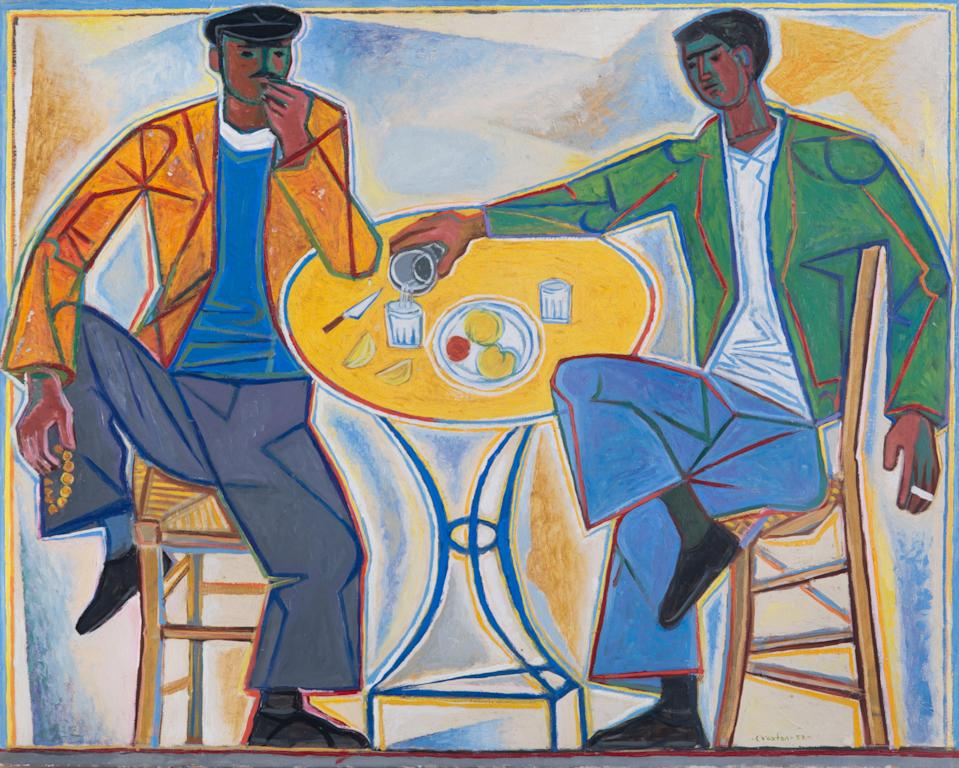 John Craxton's painting Two Men in a Taverna, 1953