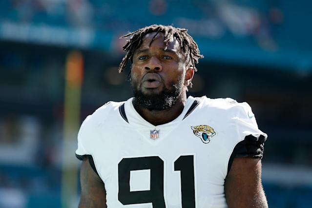 In search of a contract extension, defensive end Yannick Ngakoue is skipping Jacksonville Jaguars mini-camp this week. (Getty Images)