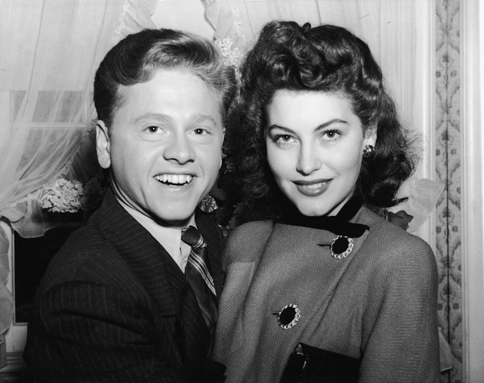 <p>Funnyman Mickey Rooney and actress Ava Gardner pose for a photo shortly before their January 1942 wedding ceremony. The couple stayed married for just one year. He went on to marry seven more times, while she walked down the aisle an additional two.</p>