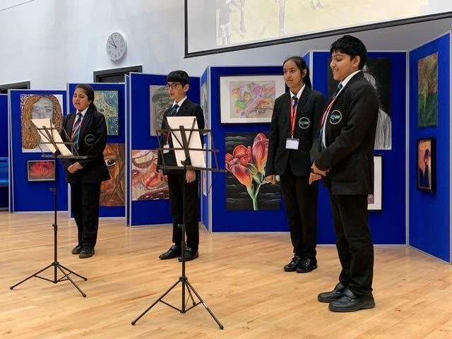 A group of Year 7 students singing the One Britain One Nation (OBON) Day song