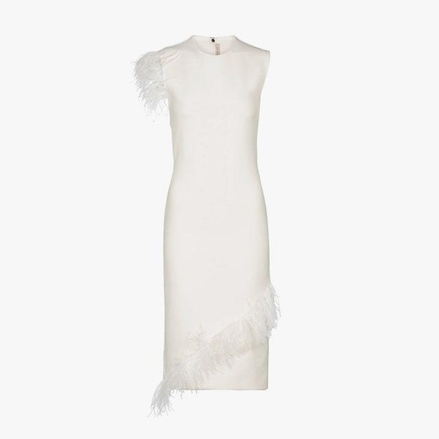 "$1220, MYTHERESA. <a href=""https://www.mytheresa.com/en-us/christopher-kane-feather-trimmed-wool-blend-dress-1686844.html"" rel=""nofollow noopener"" target=""_blank"" data-ylk=""slk:Get it now!"" class=""link rapid-noclick-resp"">Get it now!</a>"