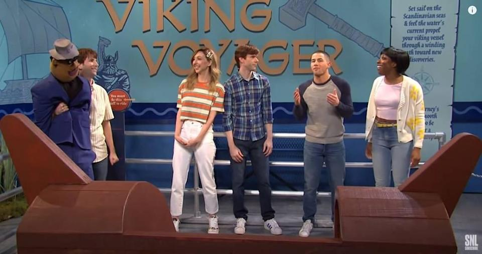 """In a February """"Saturday Night Live"""" sketch, it's hard to figure out who should sit where on the Viking Voyager at Kansas City's Worlds of Fun. From left: Kyle Mooney, Kansas City native Heidi Gardner, Mikey Day, guest host Nick Jonas and Ego Nwodim."""