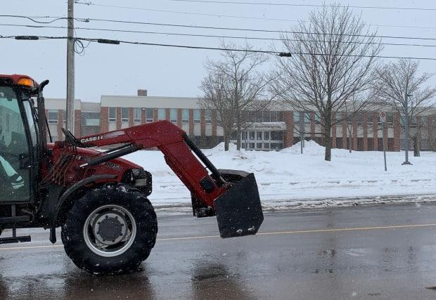 Colonel Gray High School in Charlottetown was quiet Thursday as schools across Prince Edward Island were cancelled.  (Shane Ross/CBC - image credit)