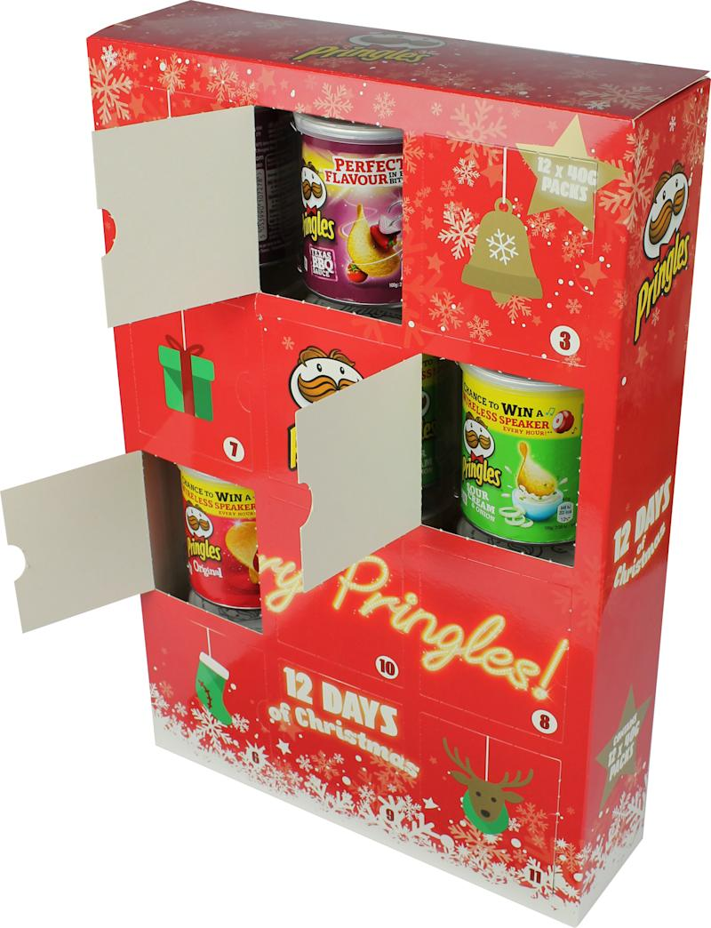 The £7.99 advent calendar has a tube of Pringles hidden behind each door [Photo: B&M]