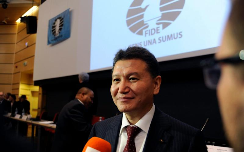 Kirsan Ilyumzhinov smiles after he was reelected President of Fide in Tromso, Norway, in August 2014 - Credit: RUNE STOLTZ BERTINUSSEN