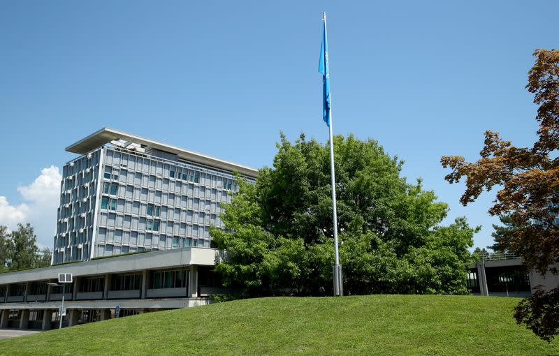 A general view shows the headquarters of the World Health Organization (WHO) in Geneva